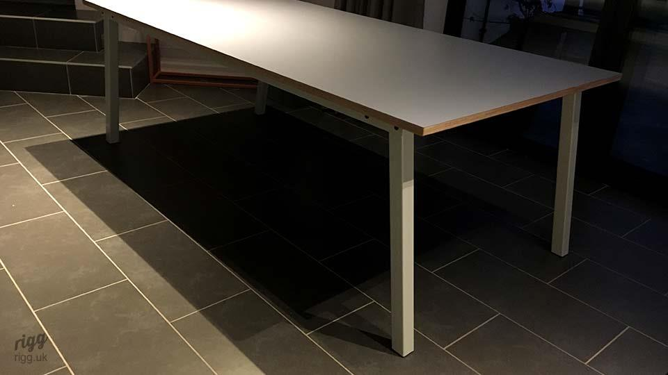 Stance Table - Grey HPL Top with White Legs