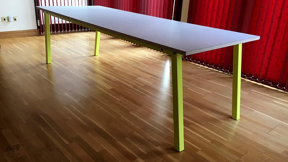 Stance Table - Grey Laminate Top with Sulphur Yellow Legs