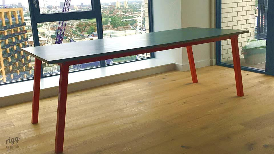Stance Zinc Top Dining Table with Red Legs
