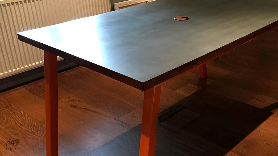 Stance Zinc Top Table Orange Legs With Cable Hole