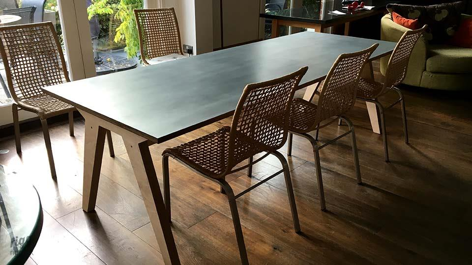 Synk Birch Plywood Dining Table near French Windows