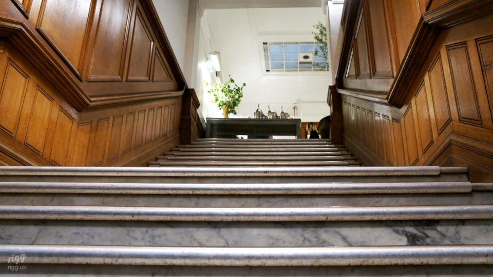 Marble Stairs with Oak Panelling at Medicine Bakery Cafe, Birmingham