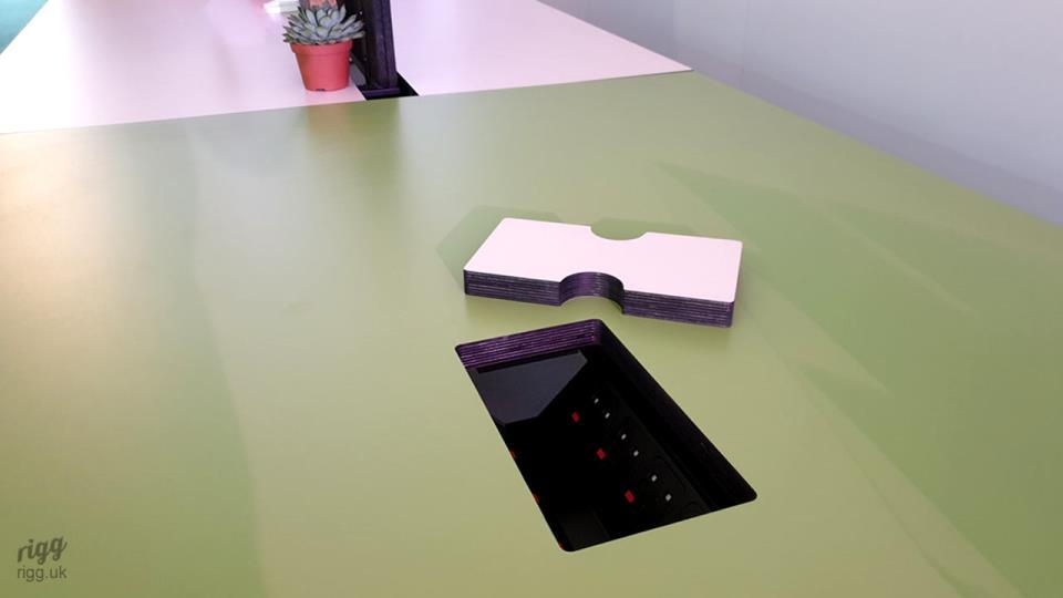 Synk Table with Power & Data Sockets including Cut-out Cover