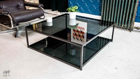 Square Grey Glass Coffee Table