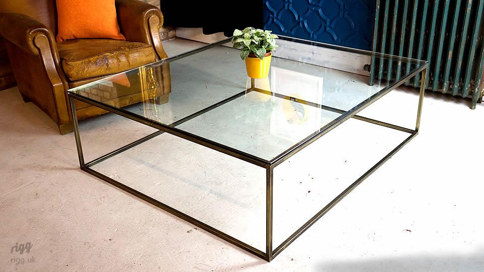 Brass Coffee Table Glass Top