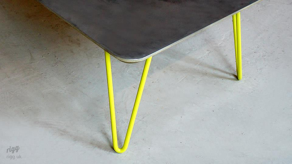 Coffee Table Yellow Hairpin Legs