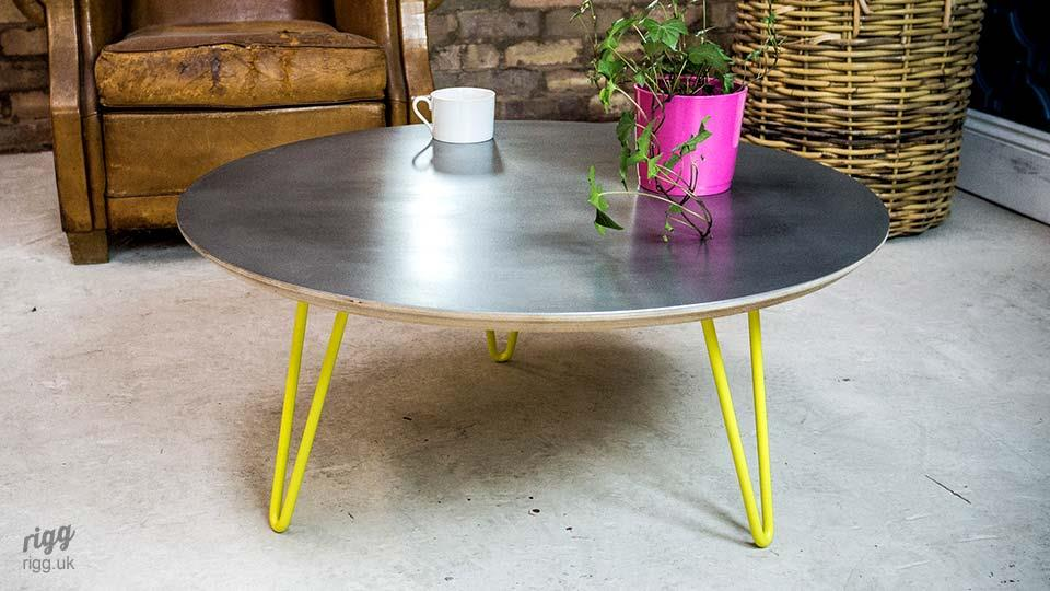 Flote Round Coffee Table Zinc Top