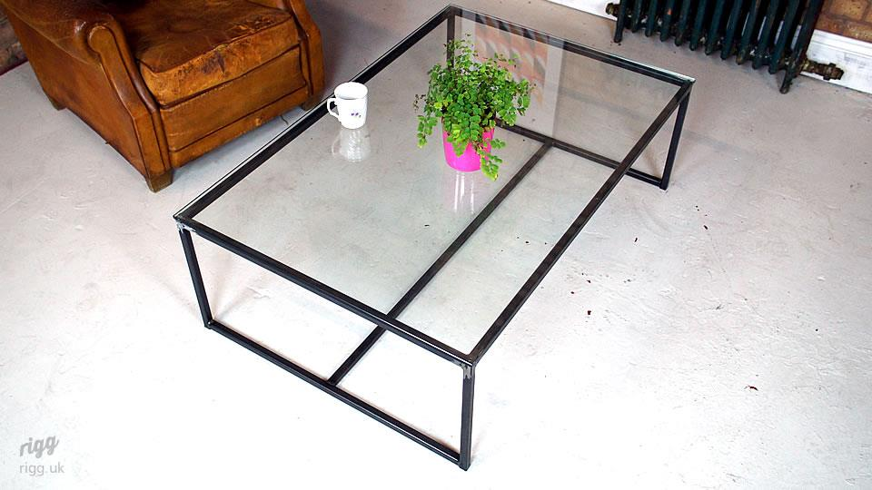 Glass Industrial Metal Coffee Table