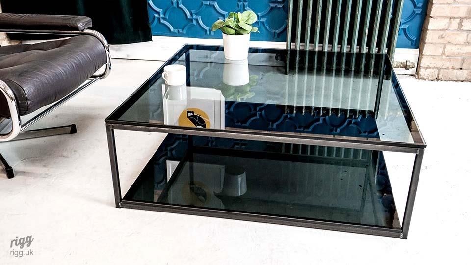 Grey Glass Coffee Table with Metal Frame