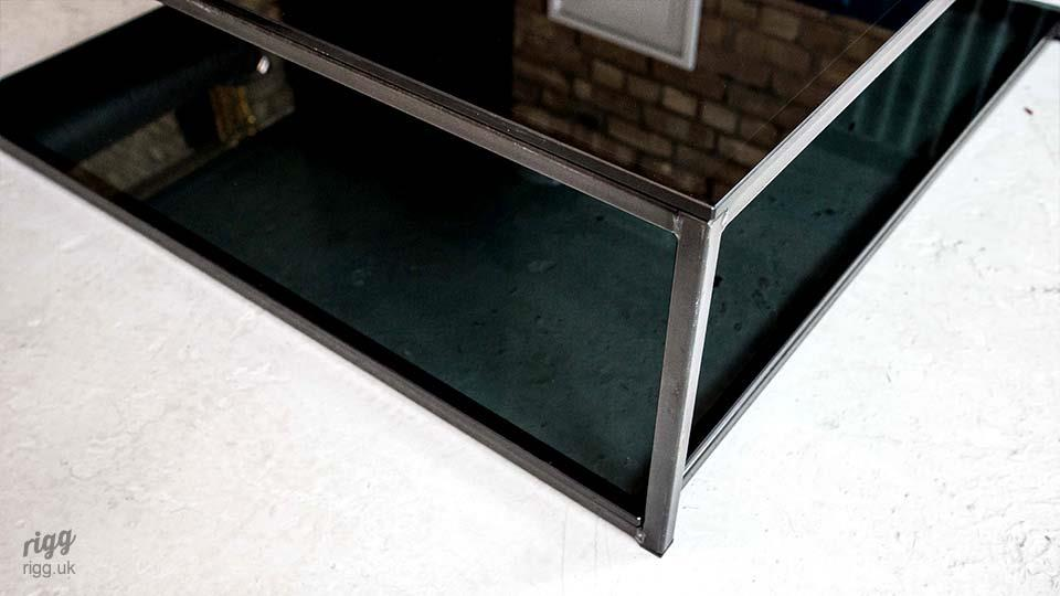 Industrial Glass Coffee Table with Shelf