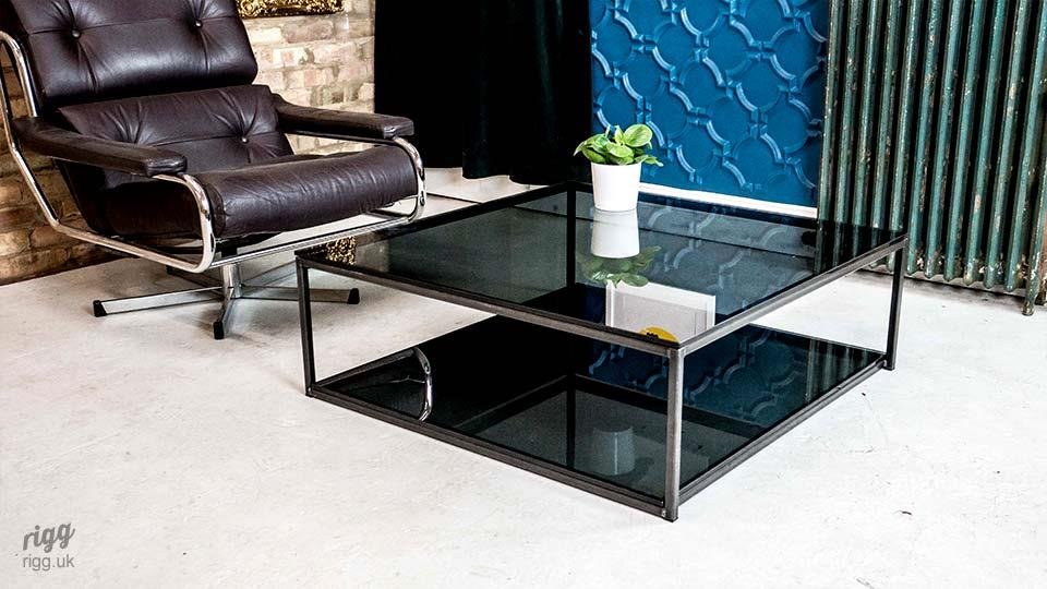 Large Square Grey Tinted Glass Coffee Table