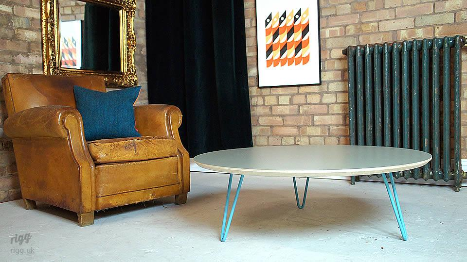 Light Blue Hairpin Leg Coffee Table
