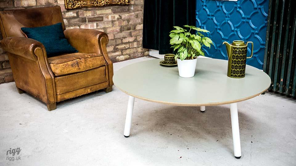Modern Round Coffee Table Grey with White Legs