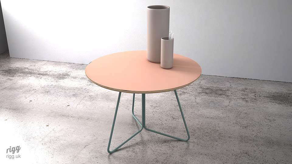 Modern Small Round Office Coffee Table Pink