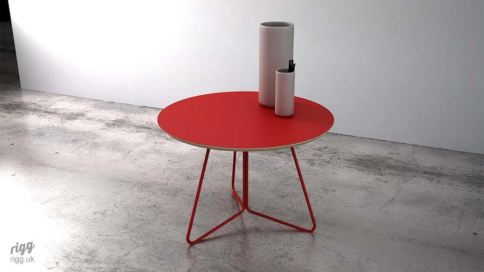 Petl Coffee Table Red Top Legs