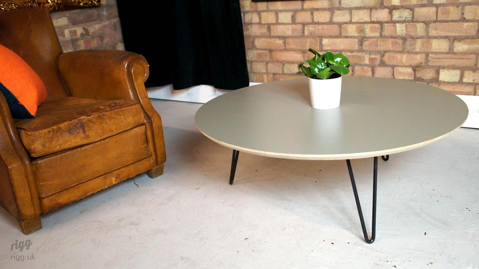 Round Birch Plywood Hairpin Coffee Table
