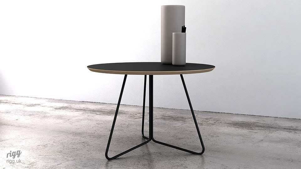 Round Black Coffee Table Laminate Top
