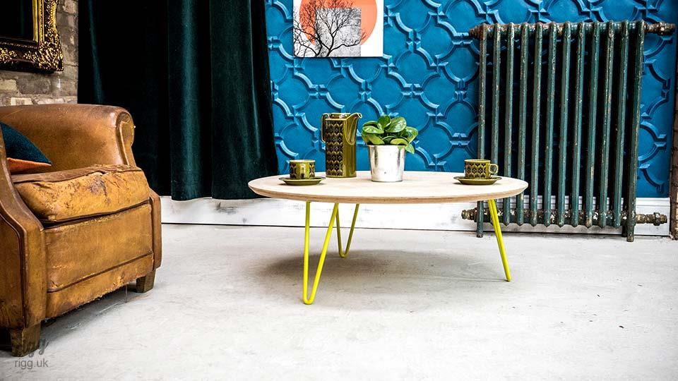 Round Plywood Coffee Table Hairpin Legs