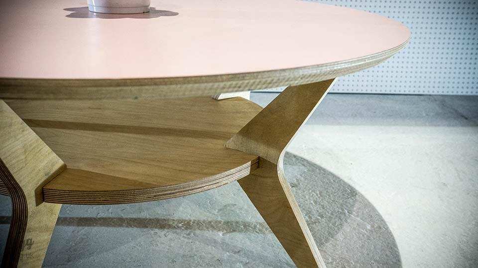 Round Plywood Coffee Table with Shelf