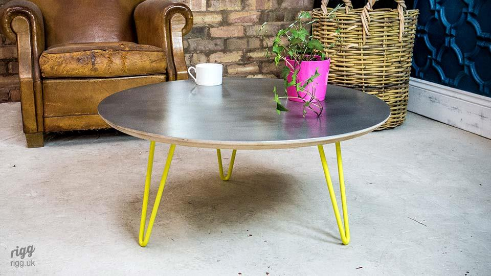 Round Zinc & Plywood Coffee Table