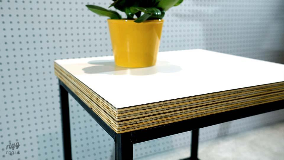 Thick Plywood Table with White Laminate Top