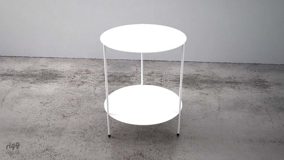TwosCompany Round Side Table White