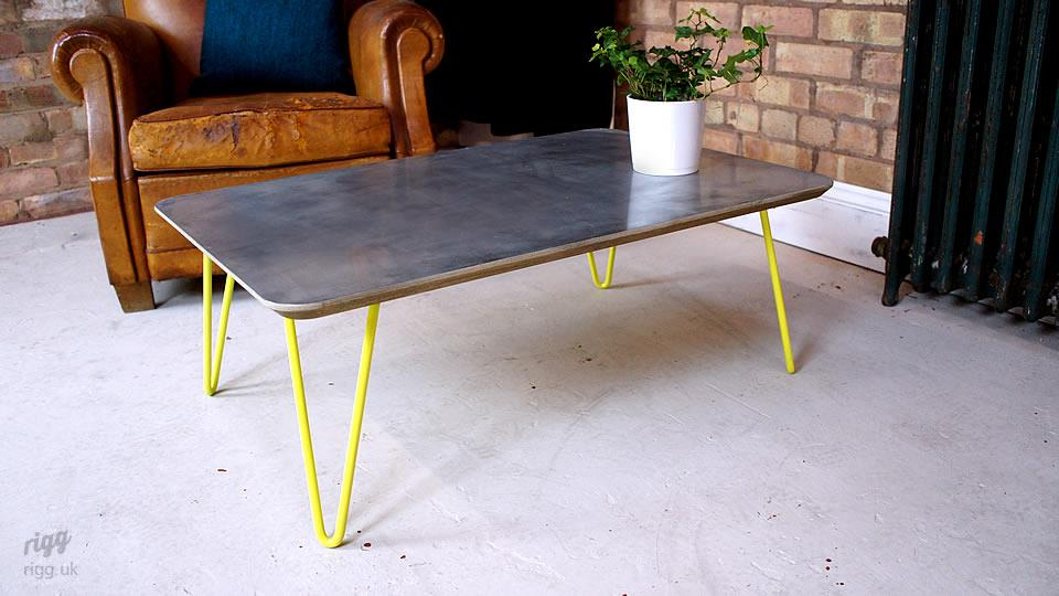 Zinc Top Coffee Table Hairpin Legs