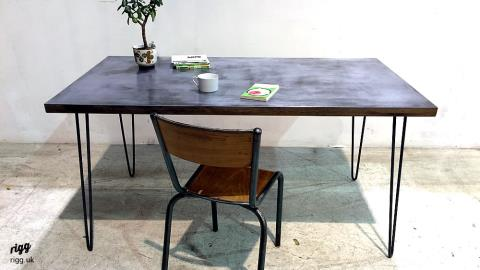 Zinc Top Desk with Hairpin Legs