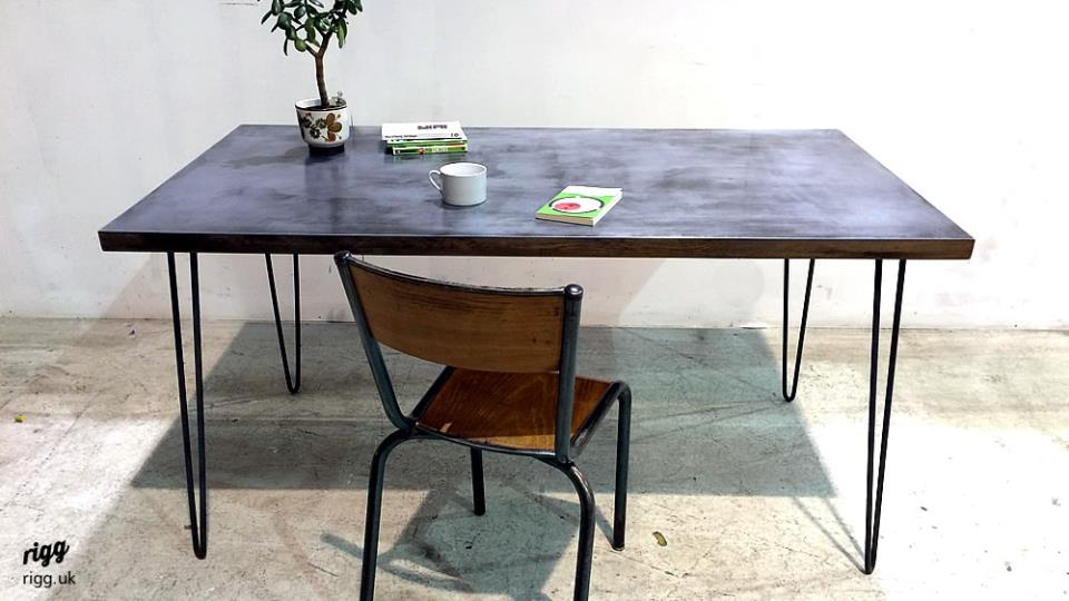 Zinc Top Hairpin Leg Desk