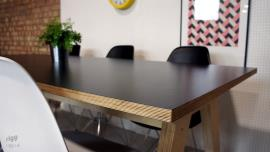 Birch Plywood Table Black Laminate Top