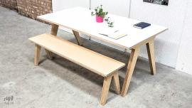 Birch Plywood White Laminate Table & Bench