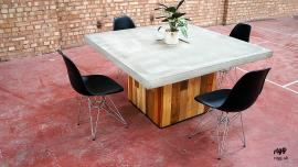 Concrete Dining Table, Wood Base