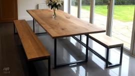 Loop Dining Table & Benches, Oak