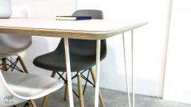 Hairpin Table - Birch Plywood - Pink with White Legs