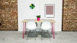Pink Hairpin Leg Dining Table