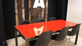 Red Coloured Glass Top Dining Table