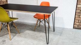 Small Hairpin Table with Plywood & Black Laminate Top