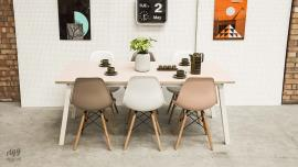 Stance Dining Table Pink Top White Legs