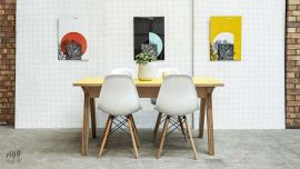 Synk Small Plywood Dining Table with Yellow Top