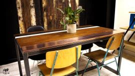 Wood Copper Dining Table