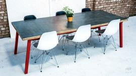 Zinc Dining Table Red Legs