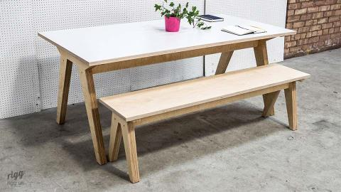 Synk Plywood Dining Table & Bench