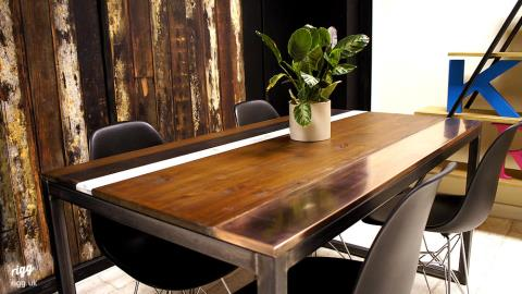 Wood & Copper Top Dining Table