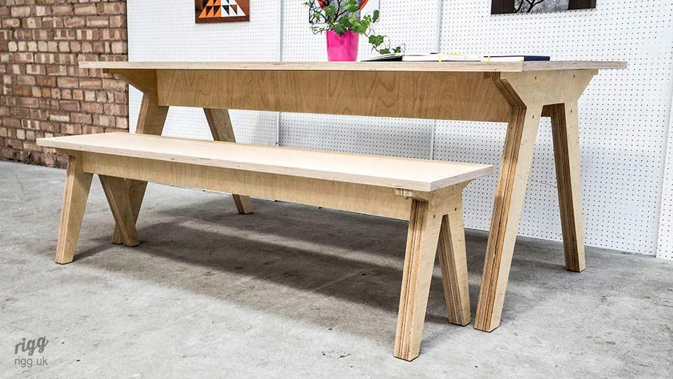 Birch Plywood Table & Bench