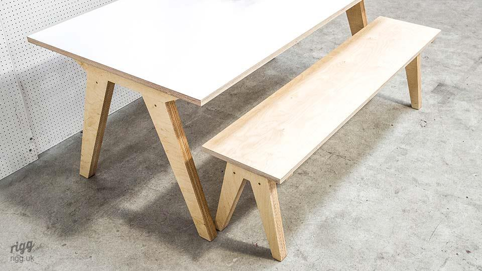 Contemporary Birch Plywood & HPL Table & Bench