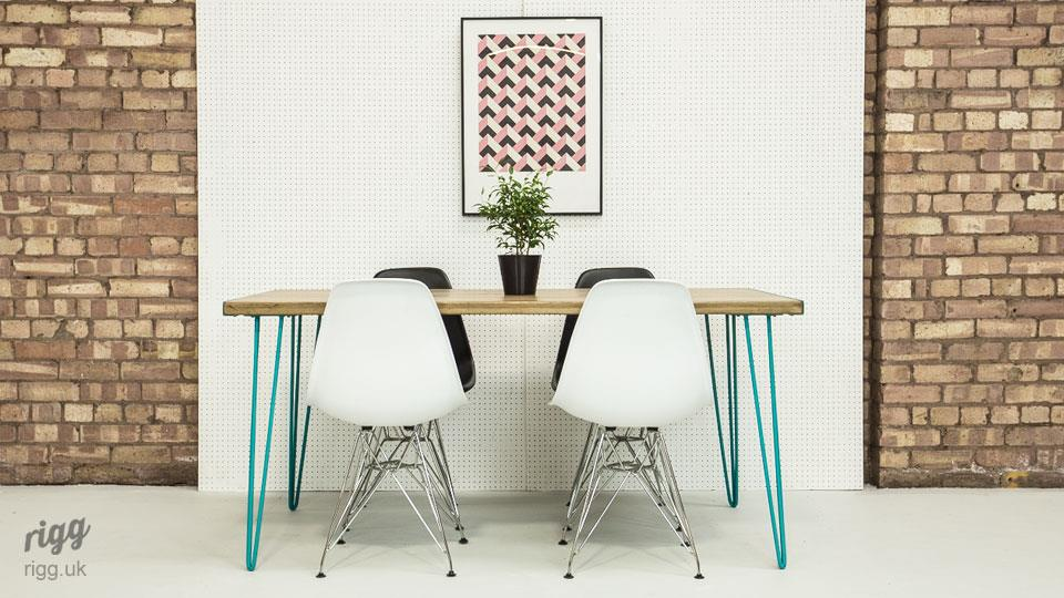 Dining Table Blue Hairpin Legs