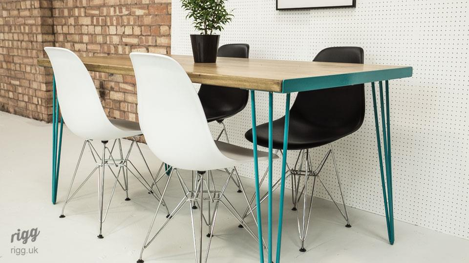 Dining Table Turquoise Hairpin Legs