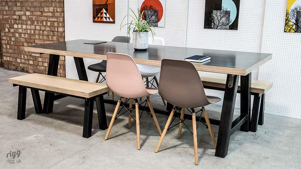 Dining Table with Thick Plywood Top