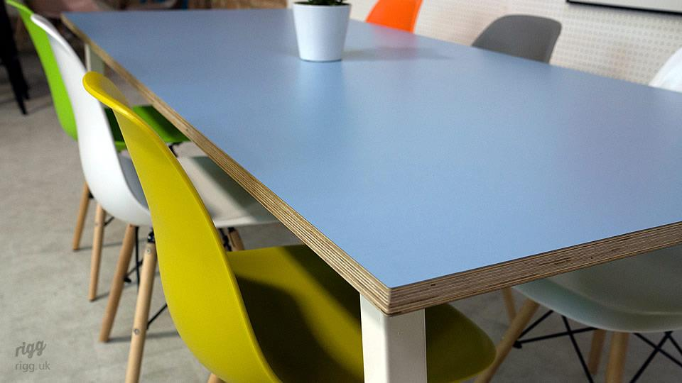 Formica China Blue Birch Plywood Table
