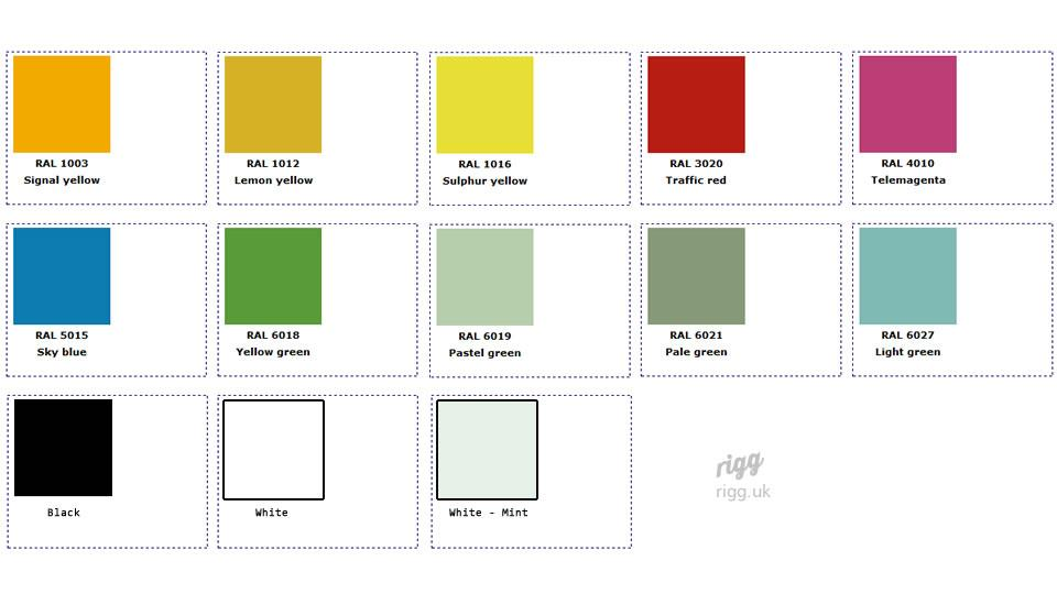 Glass Colour Chart